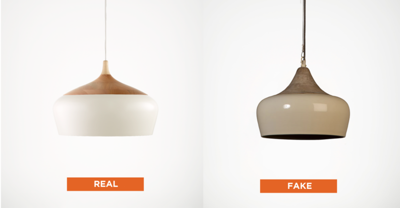 Genuine CocoFlip Coco pendant vs replica light