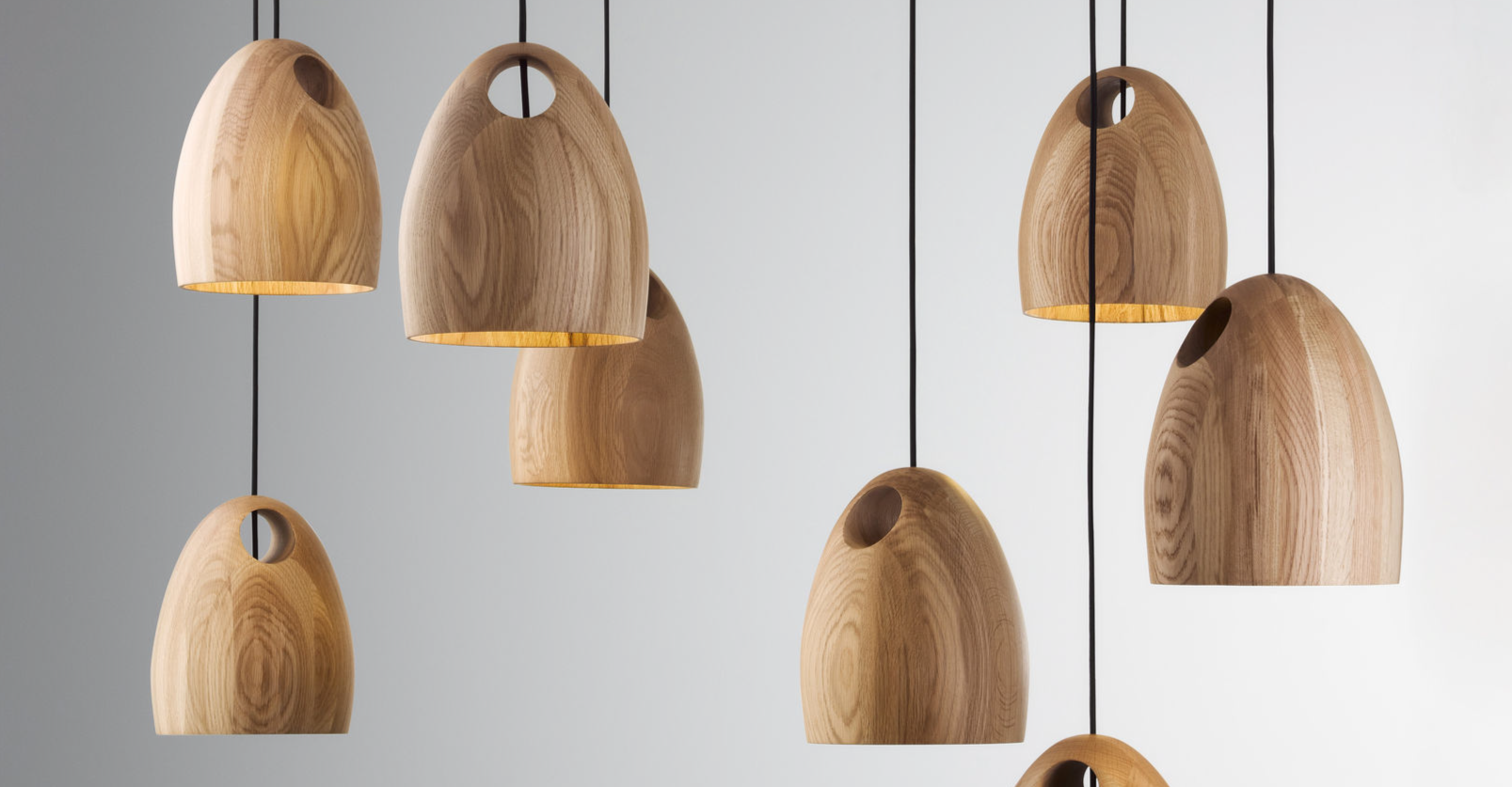 Ross Gardam OAK lights made from solid hand turned oak
