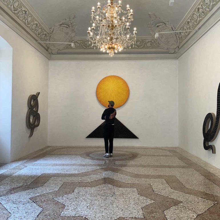 Fletcher Barns viewing Jennifer Guidi at Massimo De Carlo Gallery