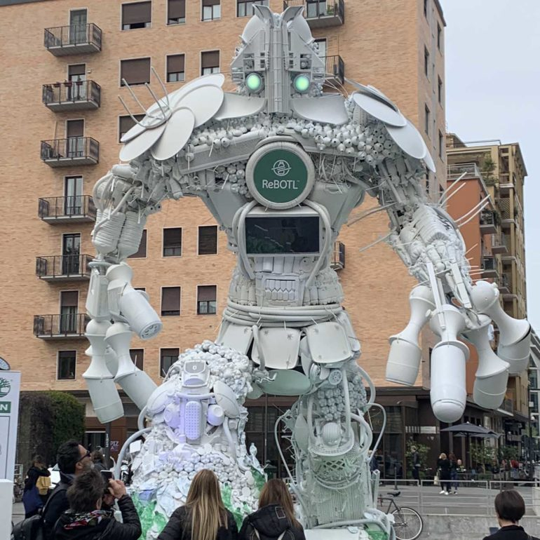 ReBotyl recycled robot at Porto Nuova