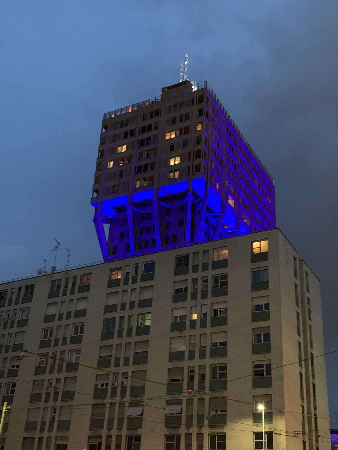 Torre Velasca illuminated by Ingo Maurer