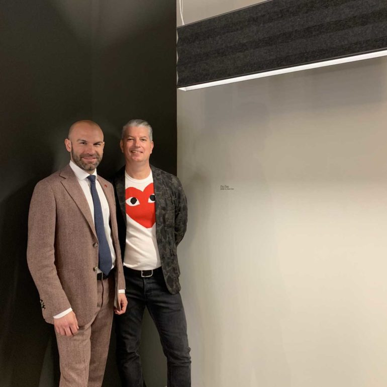 Jason Bird and Federico Panzeri, General Sales Manager at Panzeri with the Zig Zag by Jason Bird for Panzeri