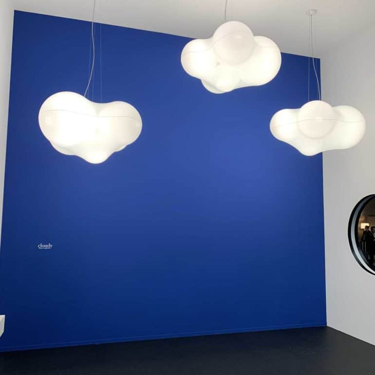 Cloudy Pendants with Yves Klien Blue exhibition design at Euroluce