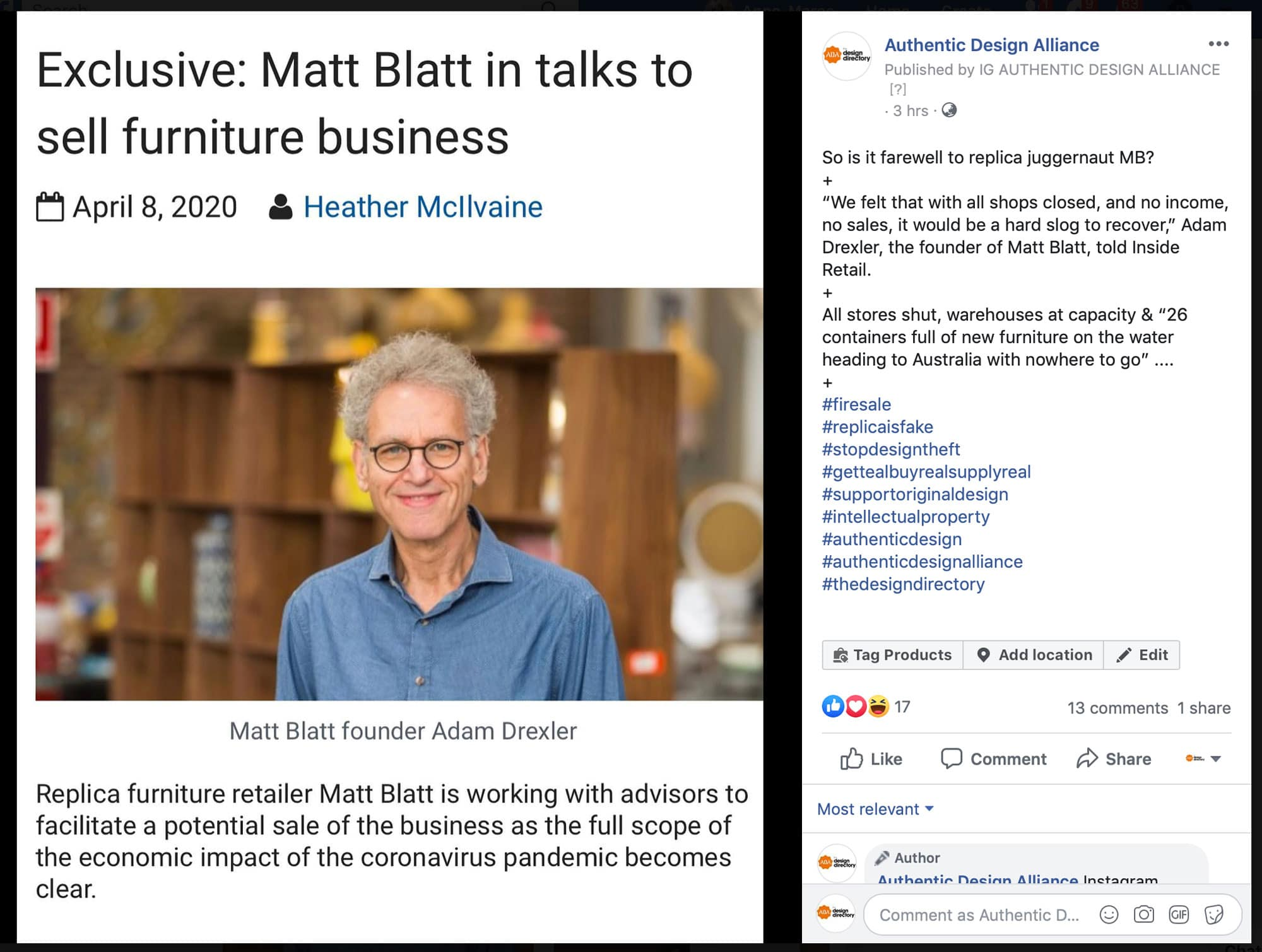 Inside Retail report of Matt Blatt sale