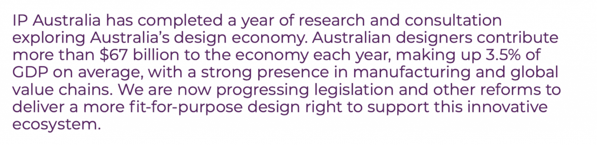 IP Australia graphic re the size of Australia's design economy